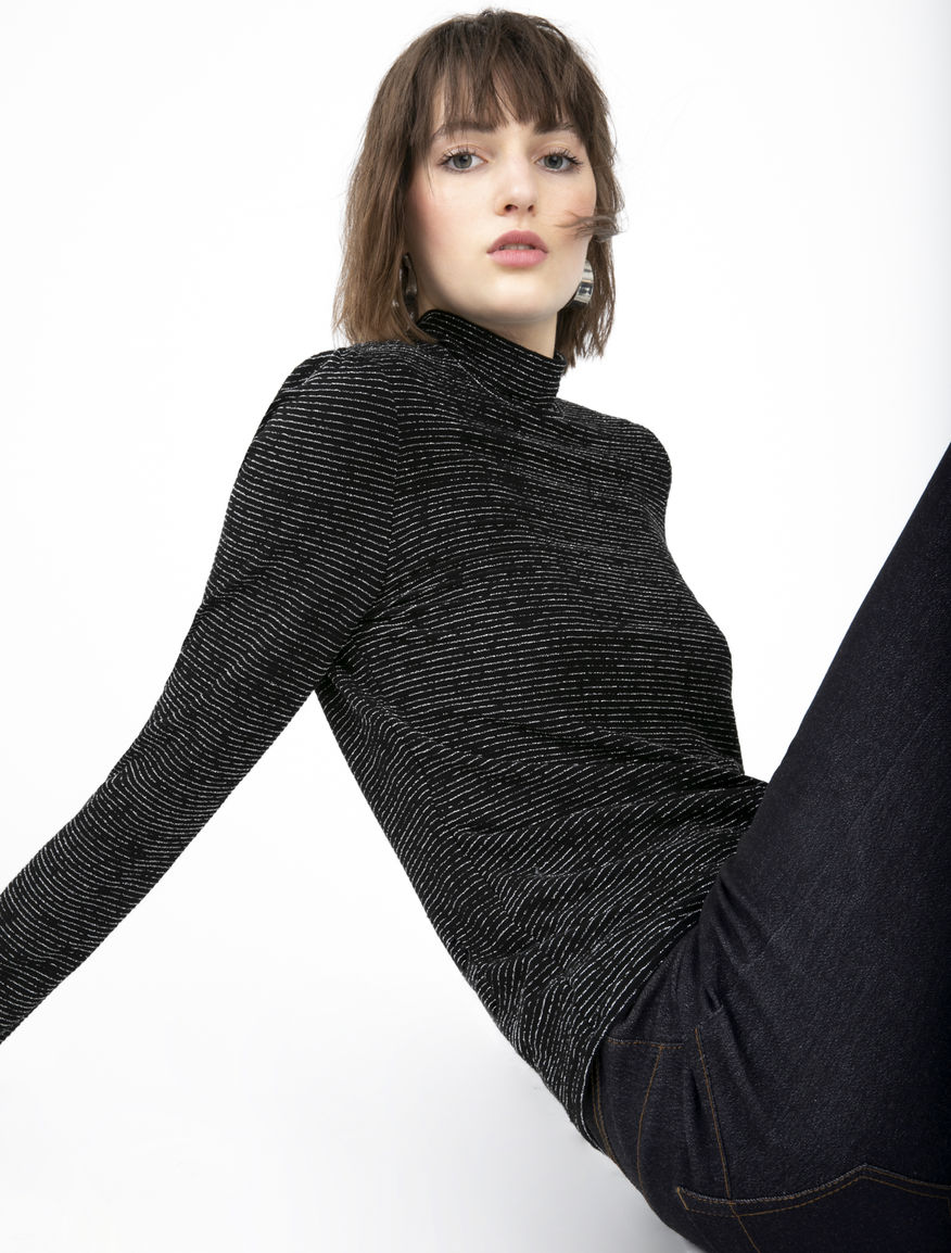 Lurex polo neck jumper