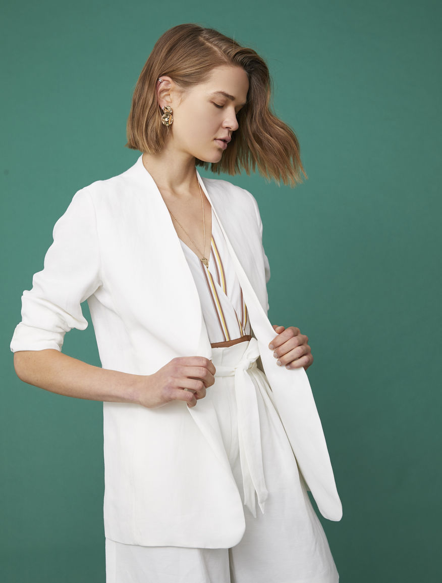 Linen blend blazer