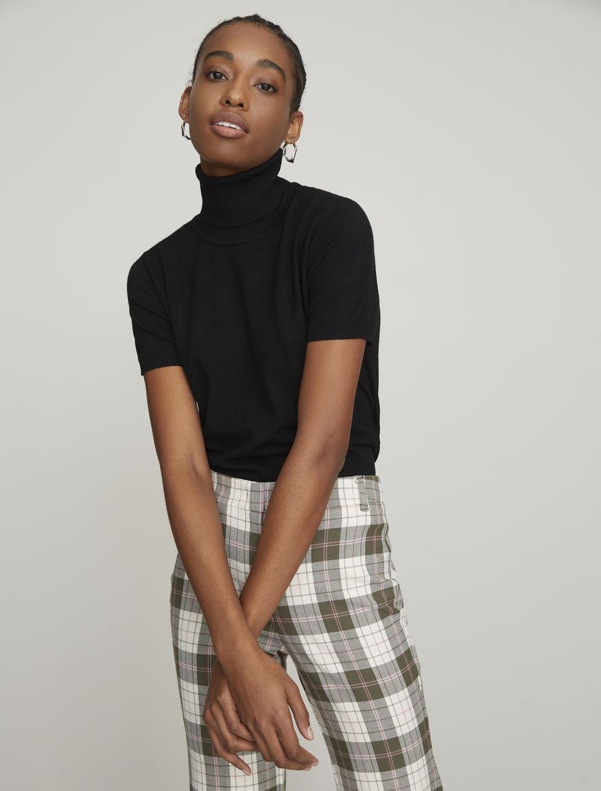 Short-sleeved polo neck jumper