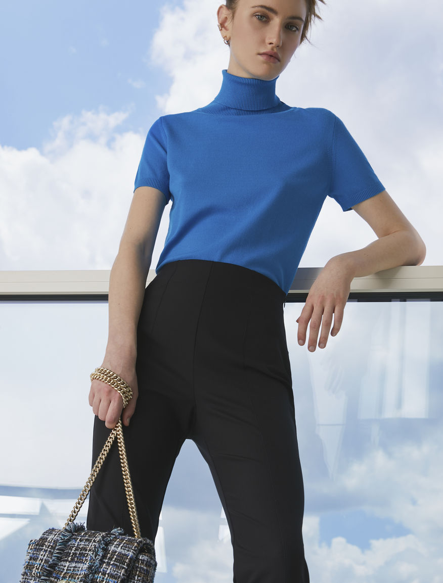 Short-sleeved polo neck jumper