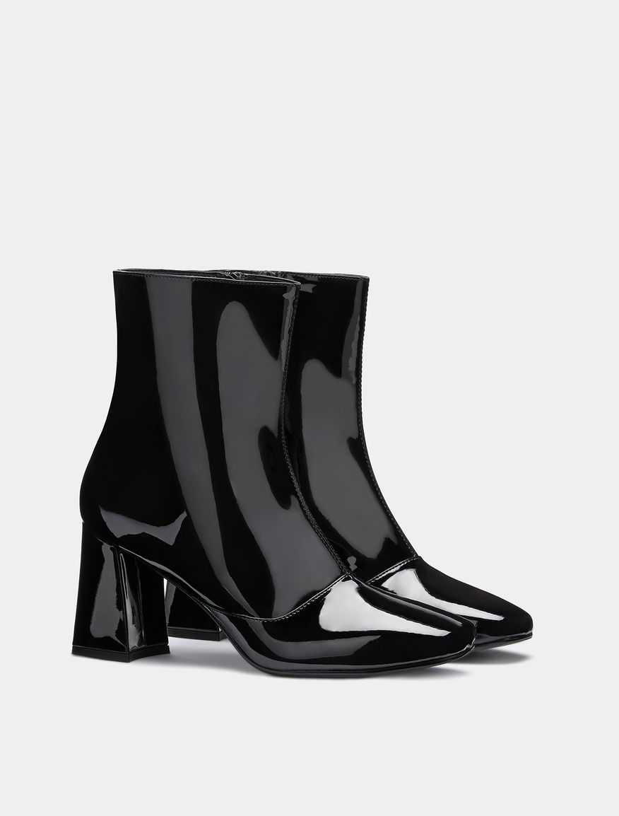 Patent leather half boots
