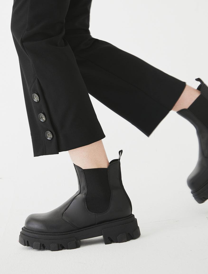 Cleated-sole ankle boots