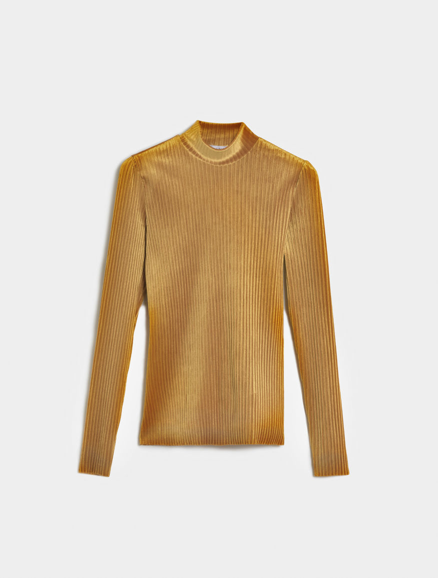 Velvet-effect polo neck
