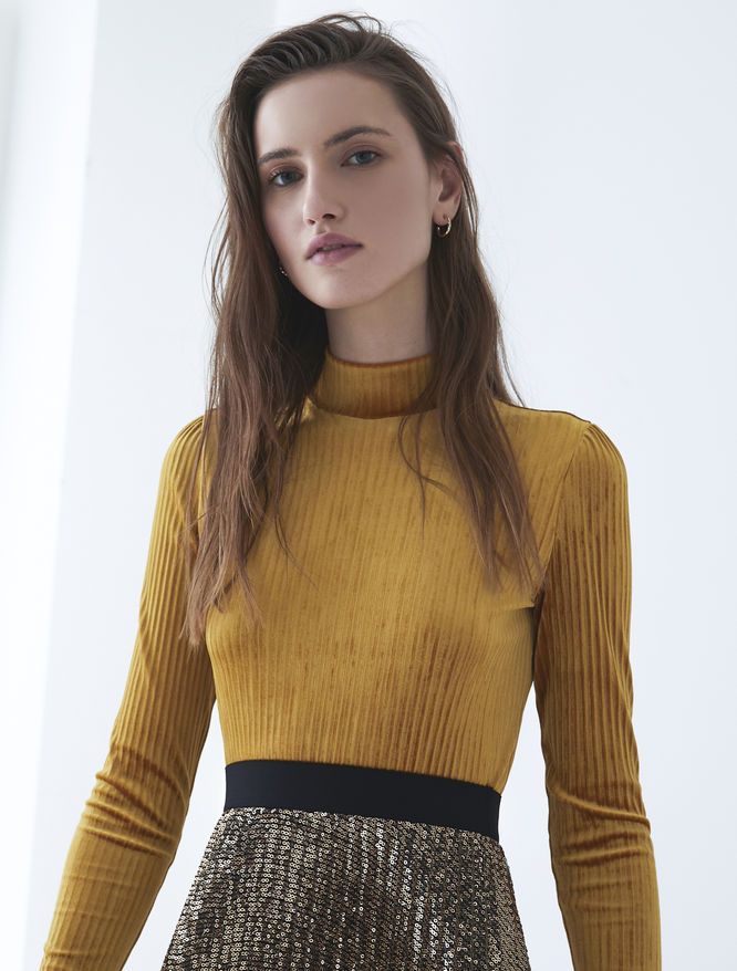 Velvet-effect polo neck iBlues