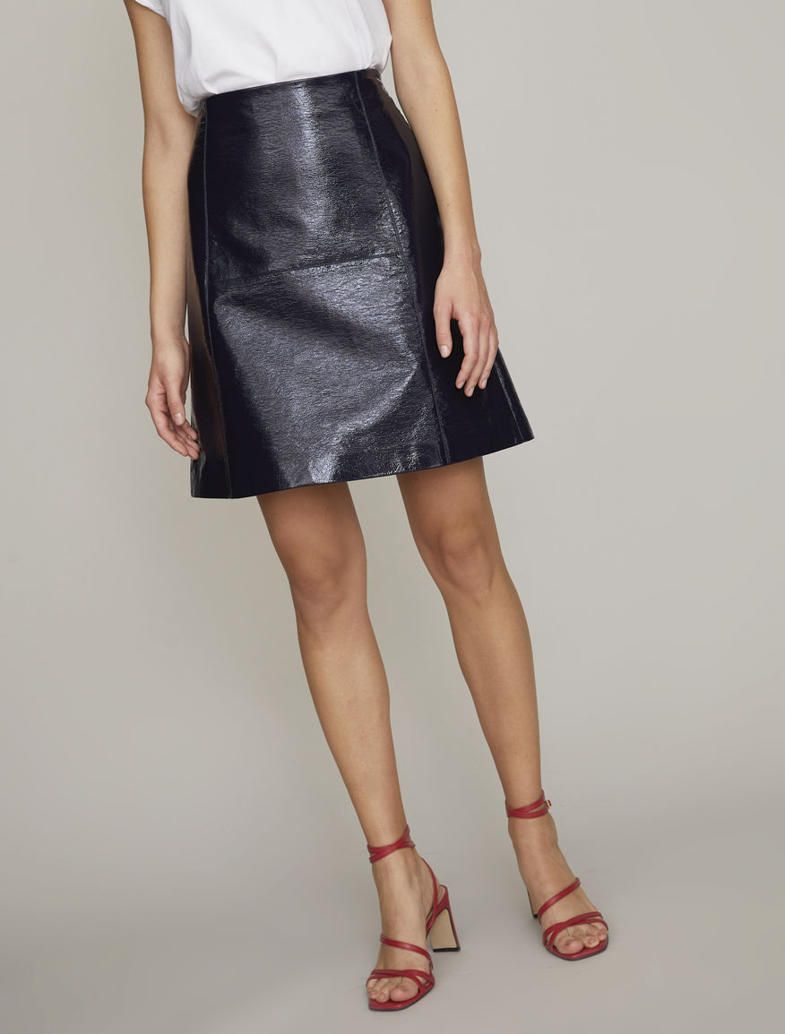 Patent leather-effect skirt