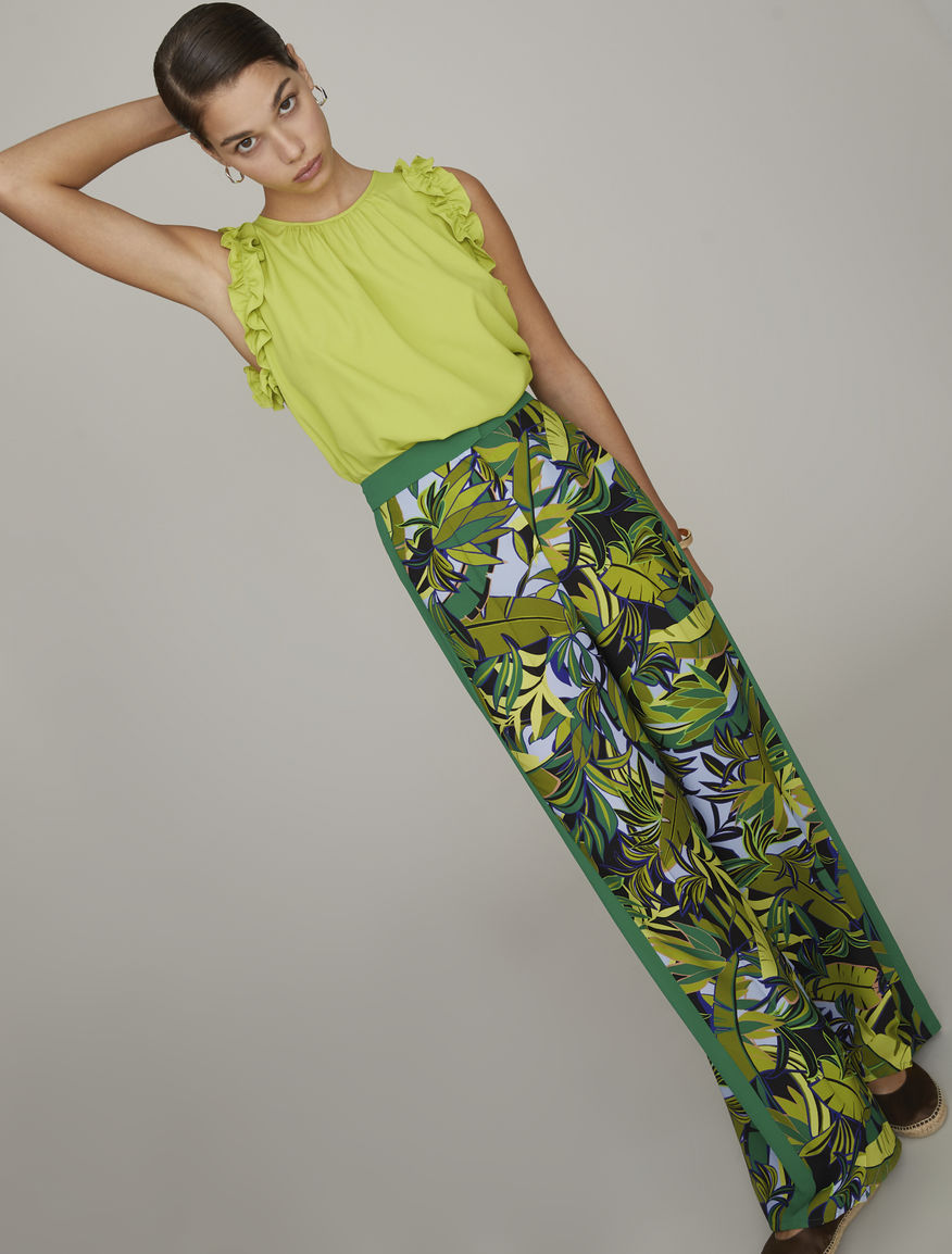 Silk blend trousers
