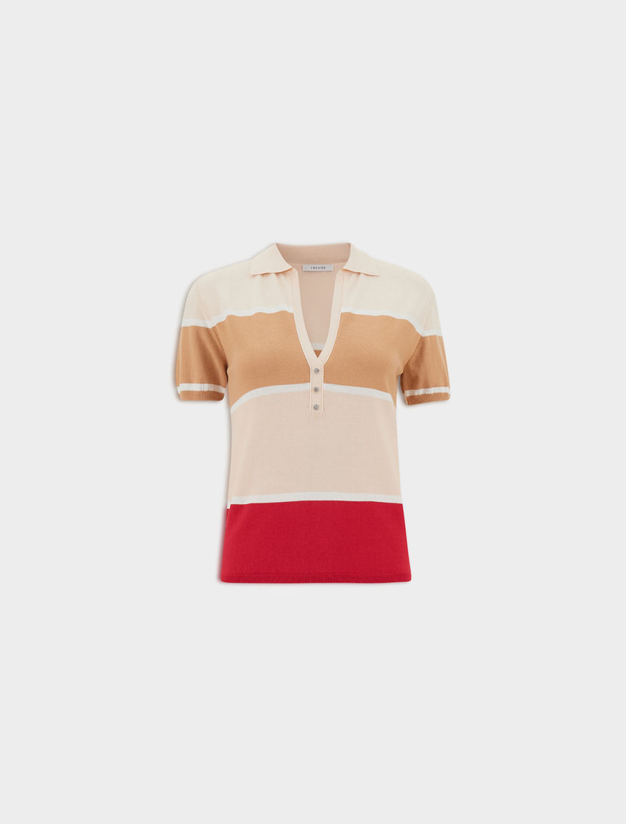 Polo shirt with jewel buttons