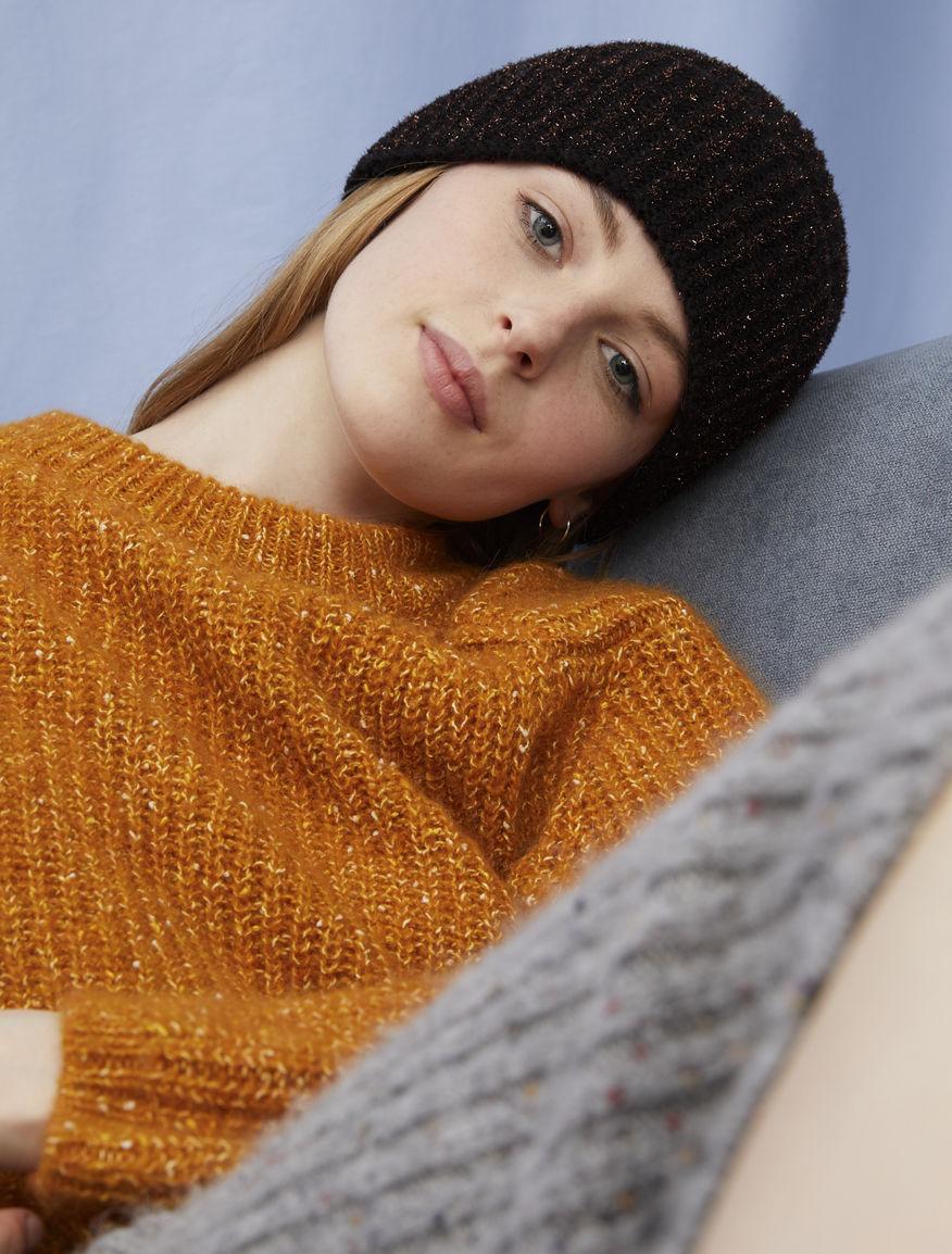 Lurex-blend beanie hat
