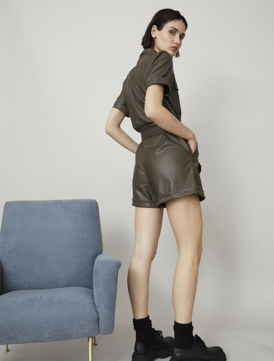 Coated-look playsuit