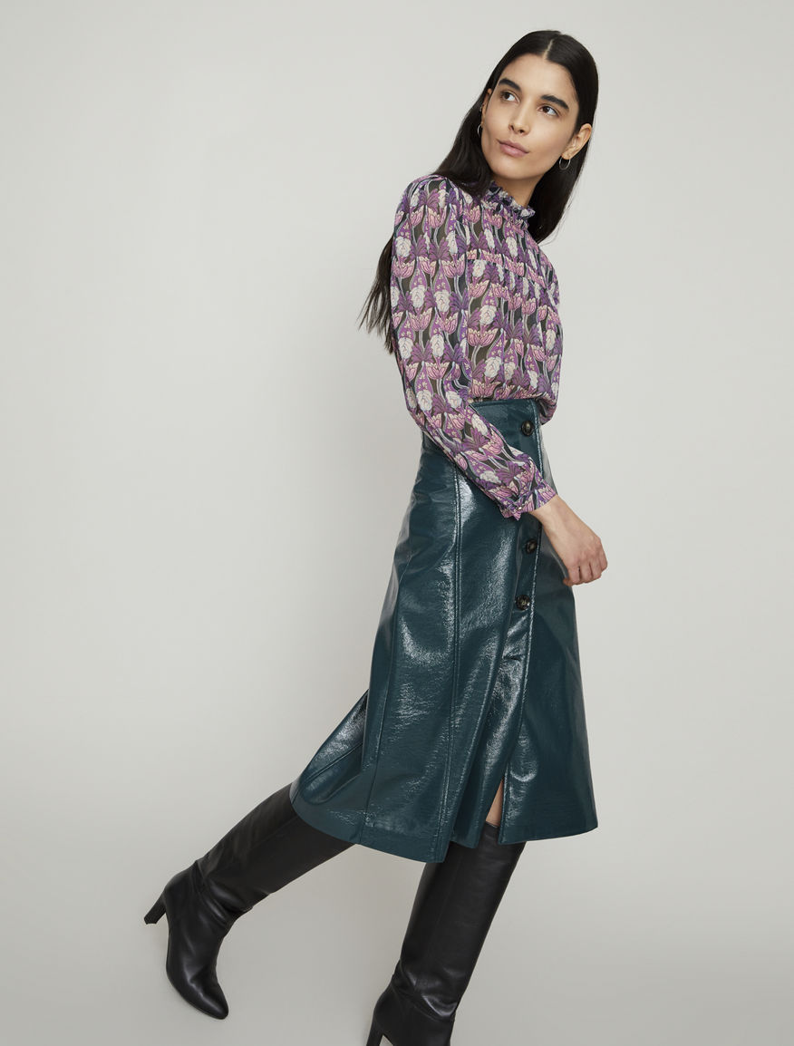 Patent leather-look skirt