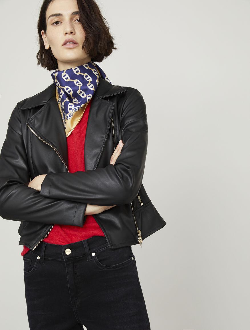 Coated-look biker-style jacket