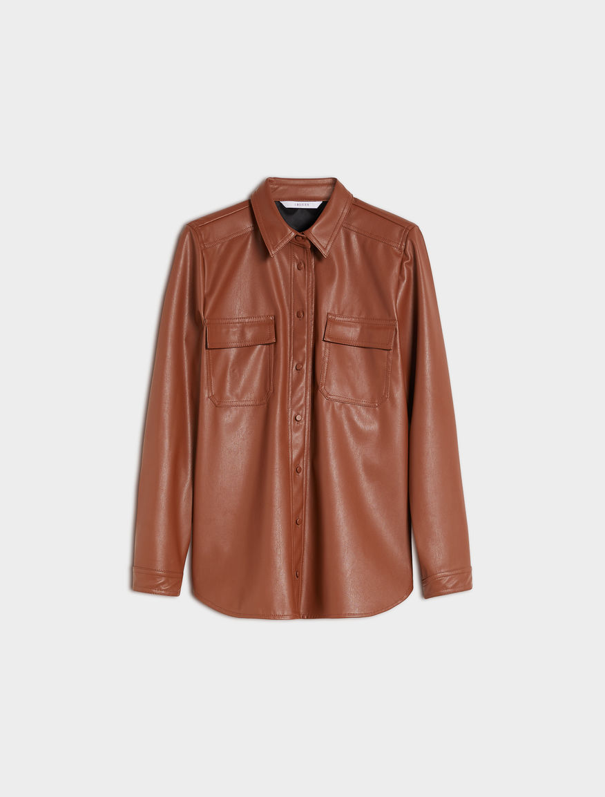 Coated-look shirt